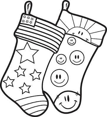 Plain christmas stocking coloring page 8