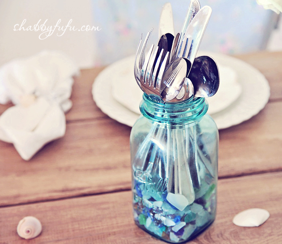 vintage ball jar beach table