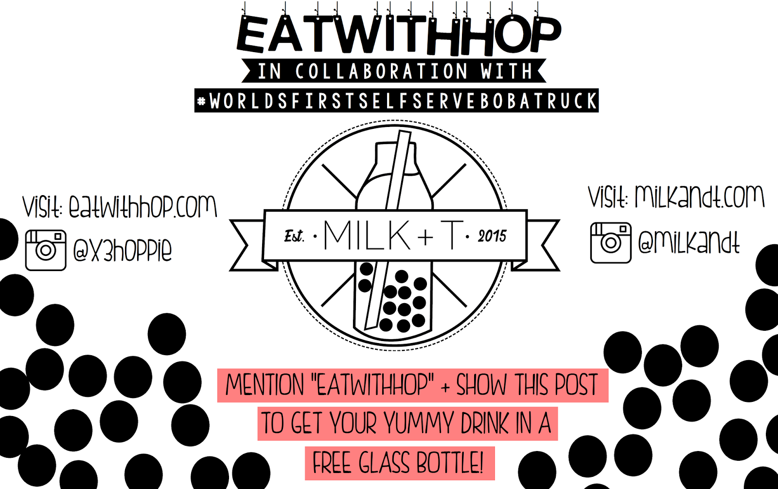 GET A CUTE GLASS BOTTLE FOR FREE WITH YOUR DRINK @ MILK + T - WORLD'S FIRST SELF-SERVE BOBA TRUCK