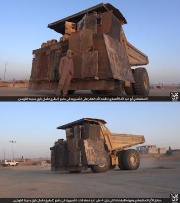 Camión extravial para minas utilizado como vehículo suicida en Siria Extraordinary mine truck used as suicide vehicle in Syria
