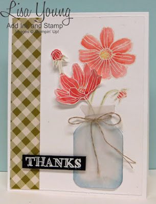 Stampin' Up! Helping Me Grow stamp set. Flowers in Vase. Handmade thank you card by Lisa Young, Add Ink and Stamp