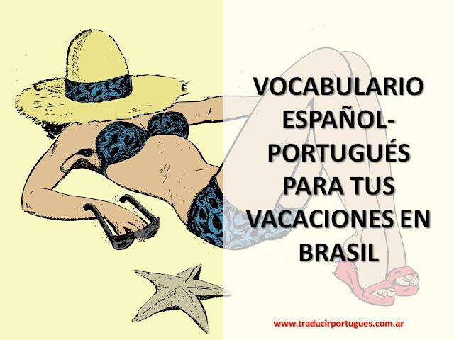 na praia, vacaciones en Brasil, español, portugués, traducción