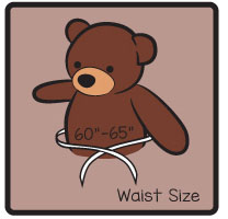 We include a waist size on some bears so you can truly appreciate how chubby and stuffed they really are