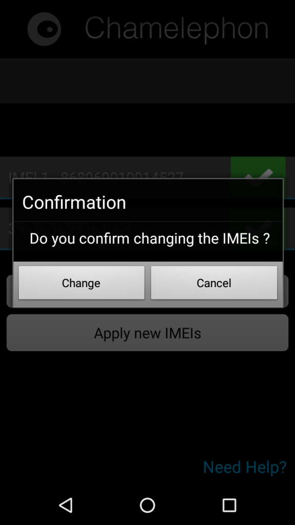confirm Change imei in chamelephon