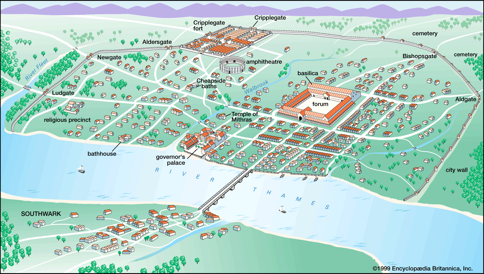 The Roman city of Londinium around AD 200