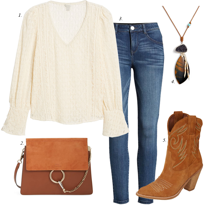 cowboy boots lace blouse fall outfit