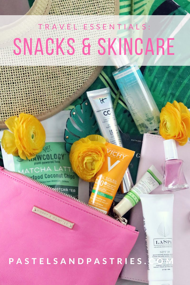 pastels & pastries, what to pack for a beach vacation, beauty, skincare, coconut, travel, packing, make up, best snacks to pack on the plane, travel skincare hacks, rawcology, st.tropez, best self tanner, it cosmetics CC Cream