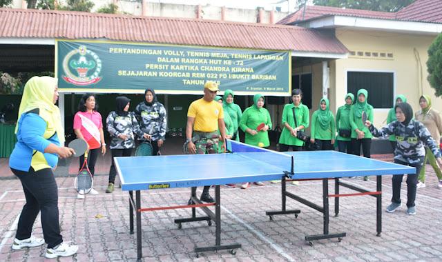 Tenis Meja Meriahkan Peringatan HUT Persit ke 72