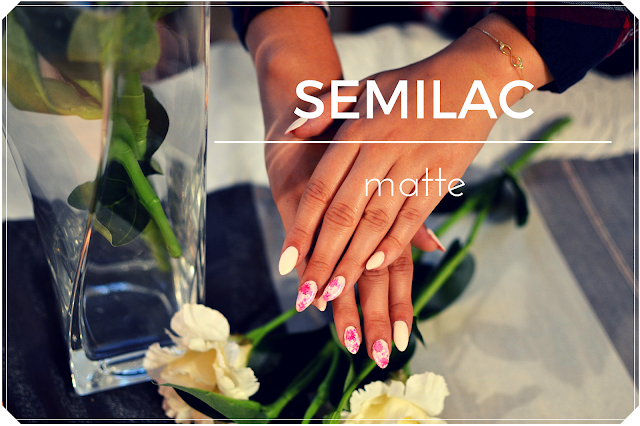 Semilac zdobienie hybrydowe - matowy róż oraz kwiaty