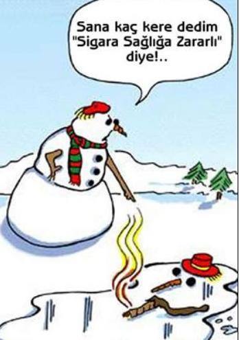 sigara, kar, kış, kardan adam, havuç, şapka, kömür, karikatür