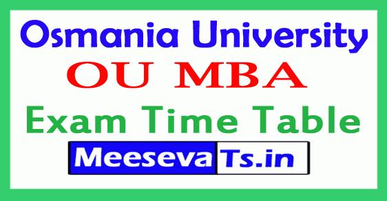 Osmania University MBA Exam Time Table
