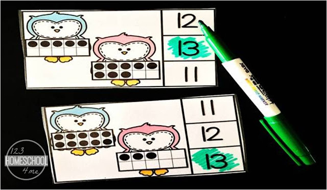 count and clip cards to help preschool, prek, and kindergarten practice counting 11-20