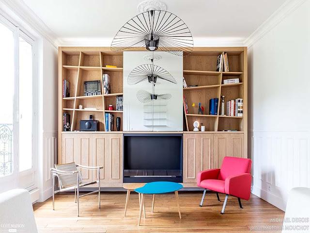 bibliothèque sur mesure dans appartement haussmannien