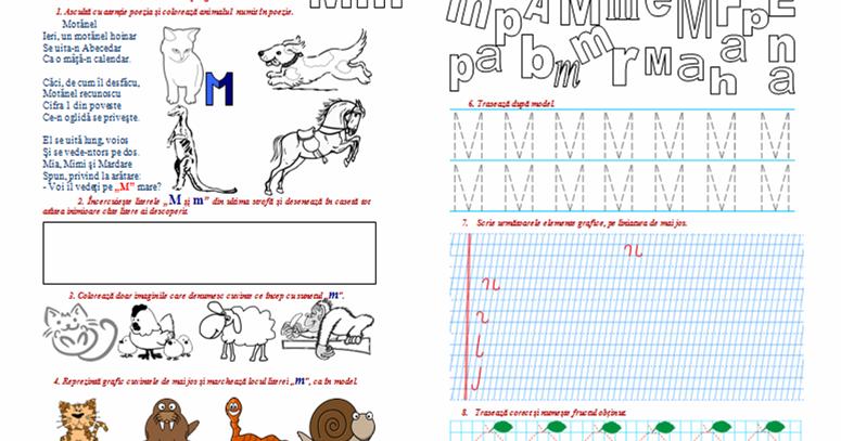Fișă De Lucru Sunetul și Literele M și M Clasa Pregătitoare