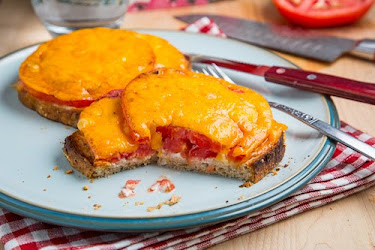 Tomato and Melted Cheese Open Faced Sandwich