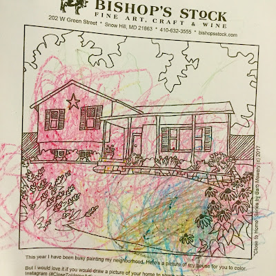 Coloring page image of a house with flowers made by Barb Mowery for Bishop's Stock Gallery.