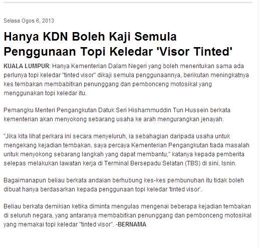 Visor Tinted Bakal Di Ban Kan Beloq Usez