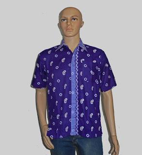 Baju Batik Pria, Hem Batik Jumputan Ungu