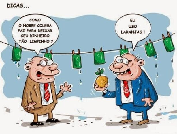 Resultado de imagem para charge lavagem de dinheiro