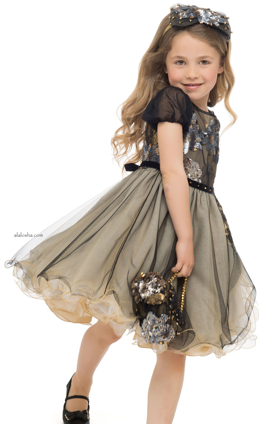 Black & Gold Tulle Dress with Sequins