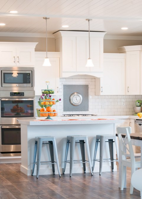 white kitchen cabinets spring decor