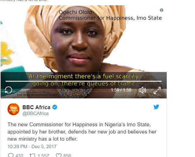 New Commissioner for Happiness in Imo State Defends Her Appointment in New BBC Interview
