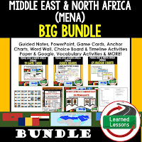 World Geography Middle East and North Africa Bundle, Anchor Charts, Games, Guided Notes, Digital Choice Boards, Google Classroom, Word Walls