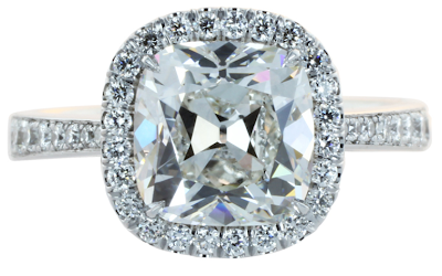 2.49 carat cushion cut diamond (color and clarity of H/SI1) halo engagement ring.