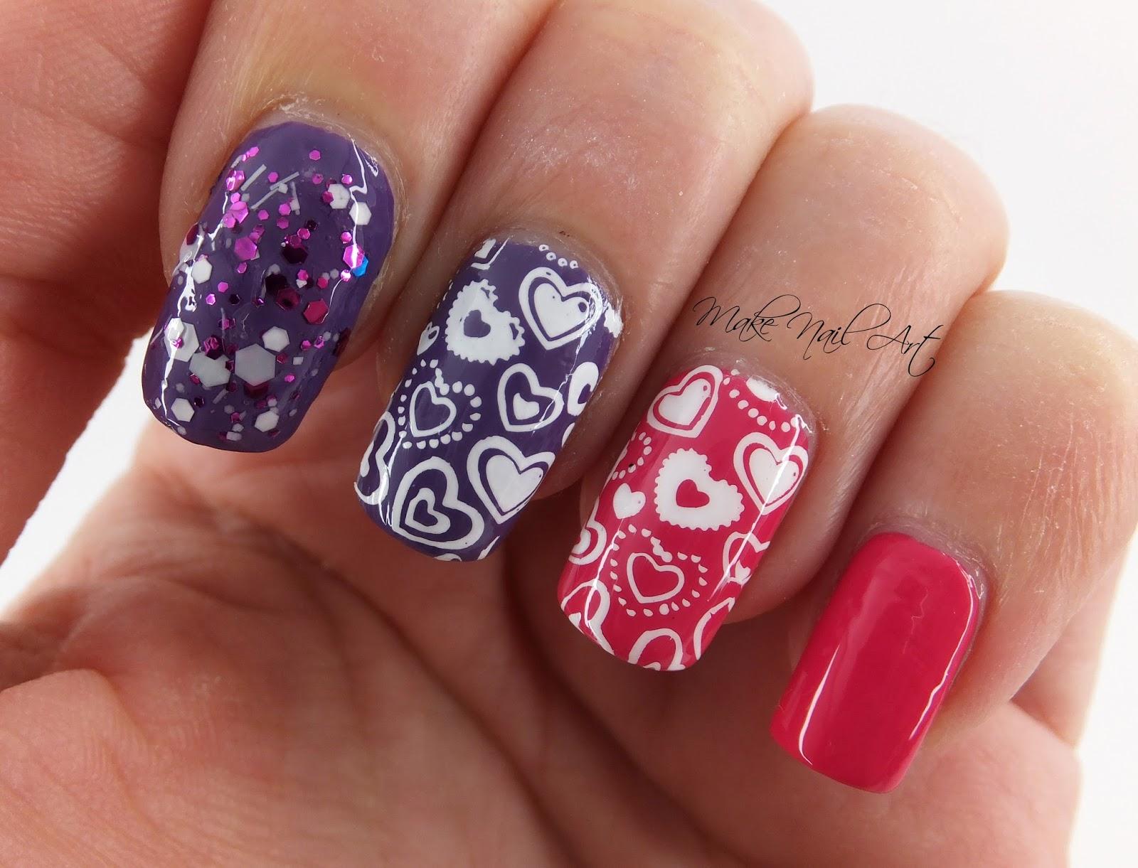 Make Nail Art: Valentine\'s Day Stamping Hearts Nail Art Design Tutorial