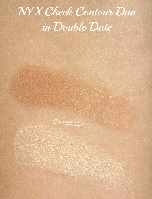 Swatches of new NYX Cheek Contour Duo palette in Double Date, a medium brown contour shade and an ivory highlighter