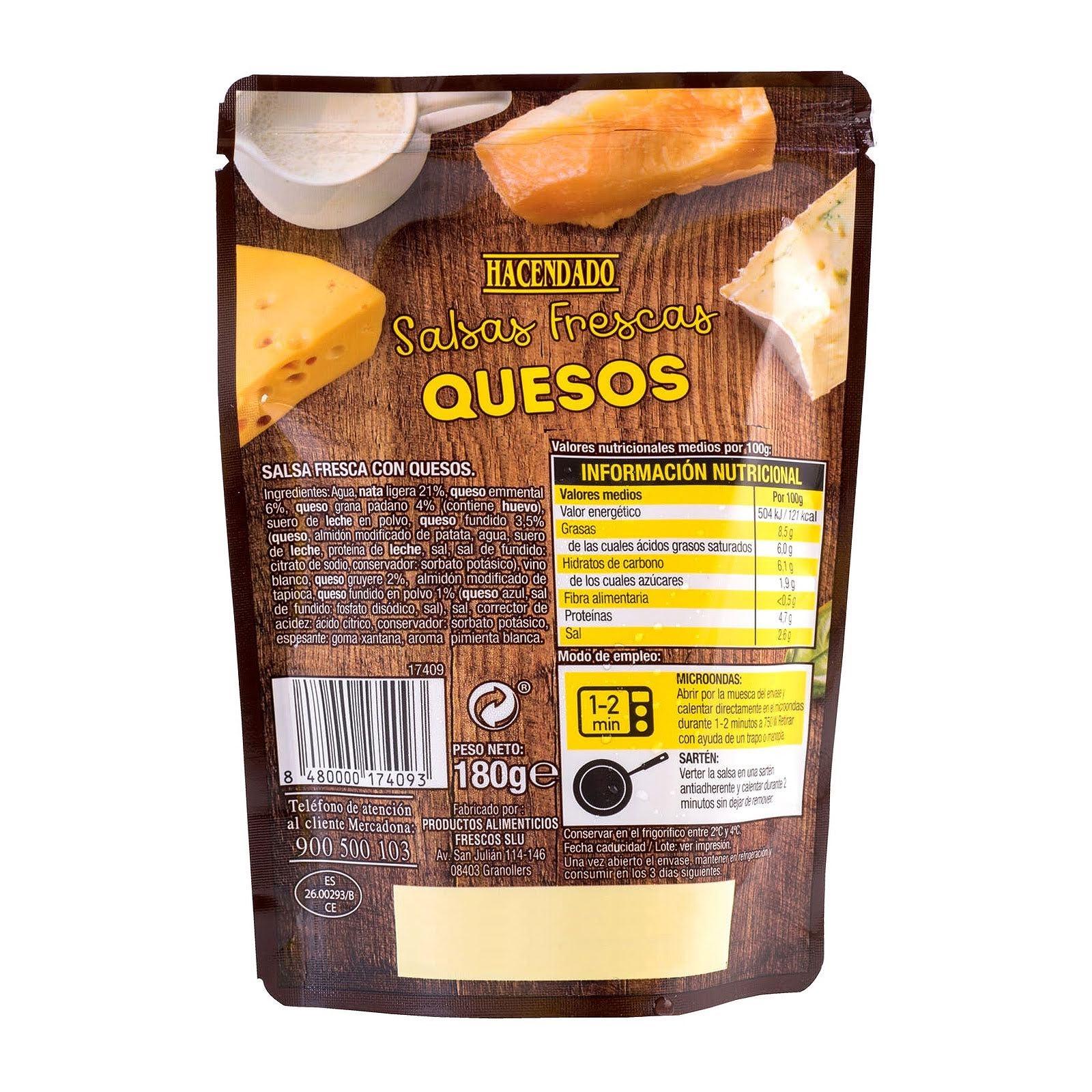 Salsa fresca quesos Hacendado
