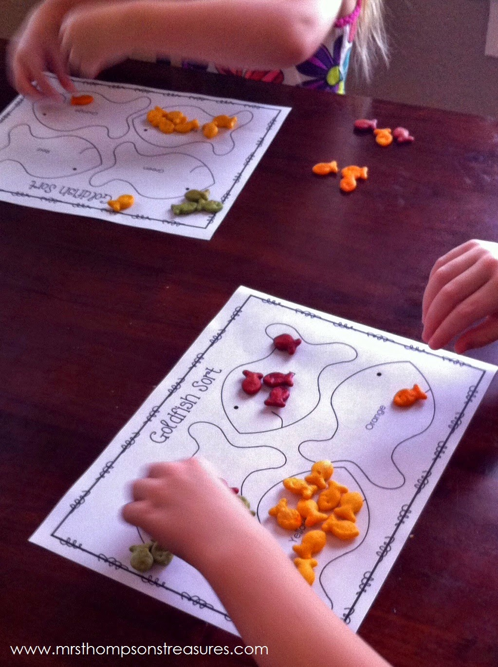 http://www.teacherspayteachers.com/Product/Goldfish-Cracker-Fun-Activity-Pack-Graphing-Sorting-Patterns-More-1147203