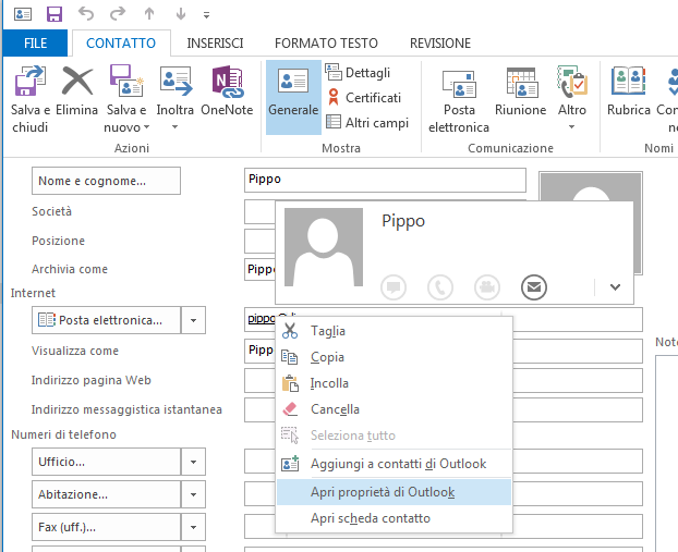 Proprietà di Outlook in Outlook 2013