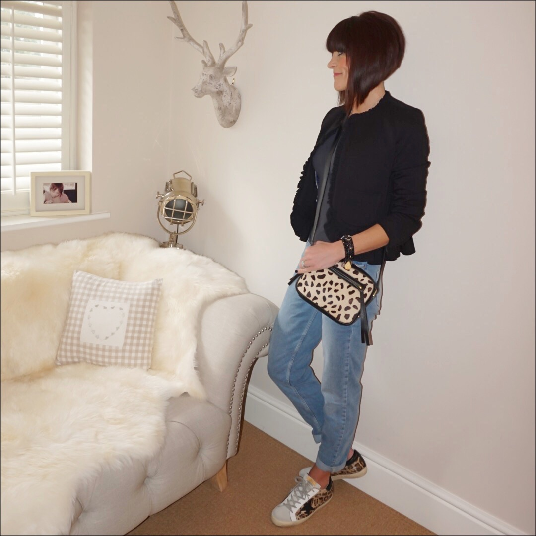 My midlife fashion, become vest, j crew frill detail jacket, the white company brompton boyfriend jeans, golden goose superstar low top leopard print leather trainers, village england thurlston leopard print cross body bag