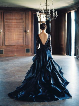 Vestido de boda azul marino