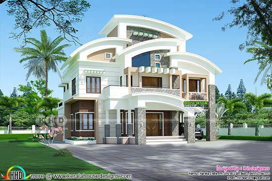 C curved roof contemporary home plan