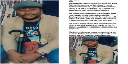 N10m bounty placed on head of notorious killer, Terwase Akwaza aka Ghana by NPF