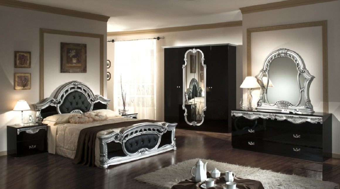 silver and black bedroom furniture design ideas