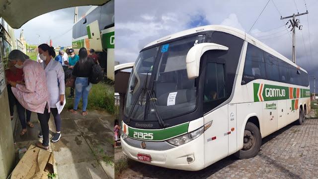 Ônibus vindo de São Paulo é flagrado pela PM desviando rota na cidade de Tobias Barreto