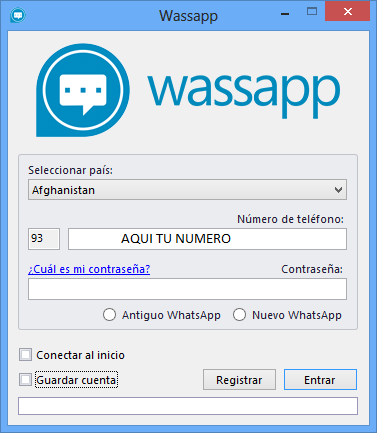 Wassap Pantalla principal seleccionar numero de teléfono