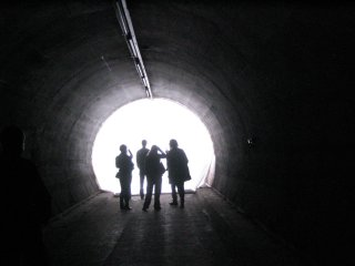 people in a tunnel