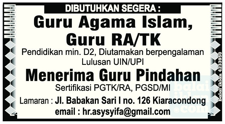 Lowongan Kerja Guru Agama Islam Bandung Mei 2016