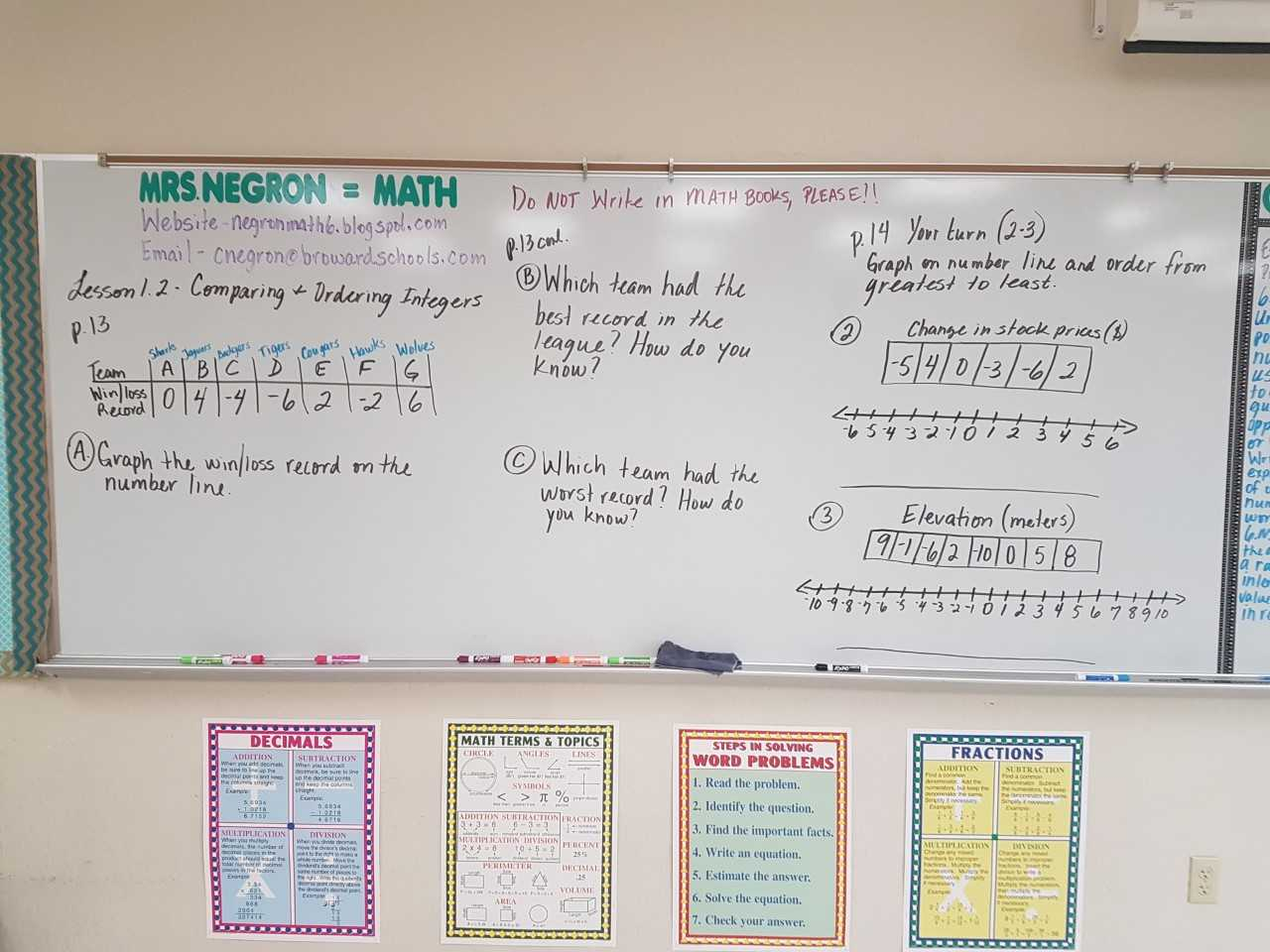 Mrs Negron 6th Grade Math Class Lesson 1 2 Comparing And