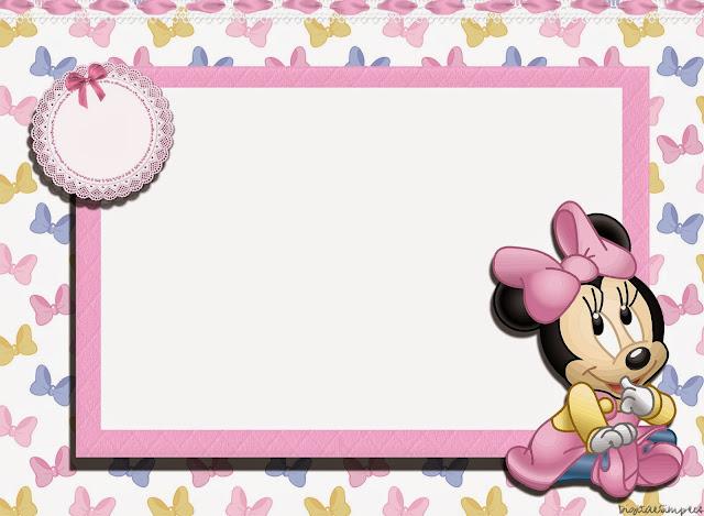 Para hacer invitaciones, tarjetas, marcos de fotos o etiquetas, para imprimir gratis de Minnie Bebé.