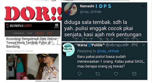 Polisi TEWASKAN Sopir Ojek Online. Netizen, GIMANA KALAU PEGANG SAGL? Gak Cocok Dikasih Senjata Kasih Aja Pentungan