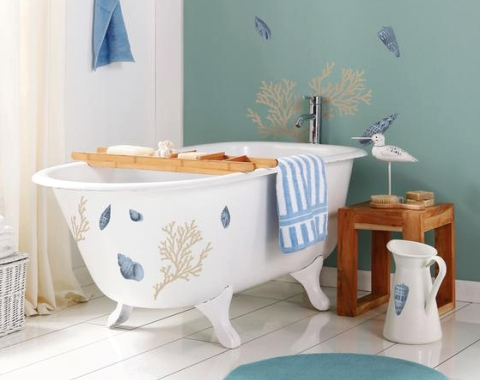 decorated bathtub with sticker