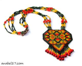 яркие украшения на шею в этническом стиле купить изделия из бисера ру