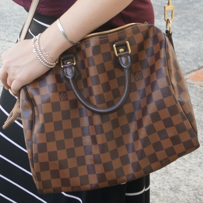 AwayFromTheBlue | Louis Vuitton Damier Ebene 30 speedy bandouliere with stripes