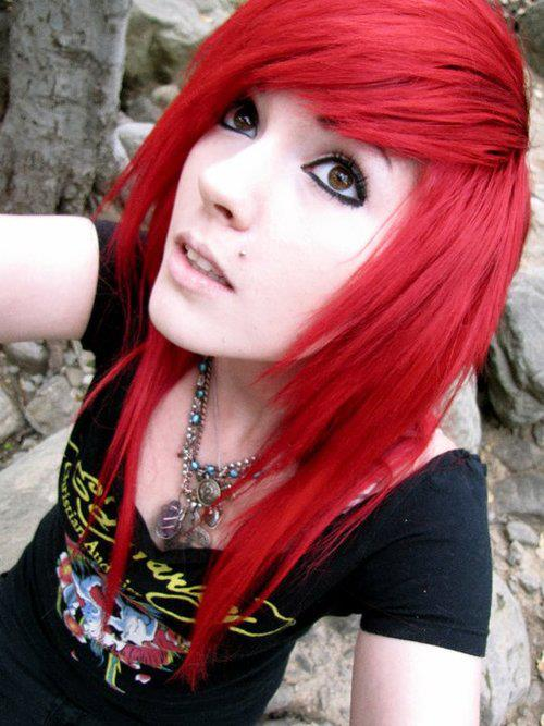Black emo girl with red hair will order
