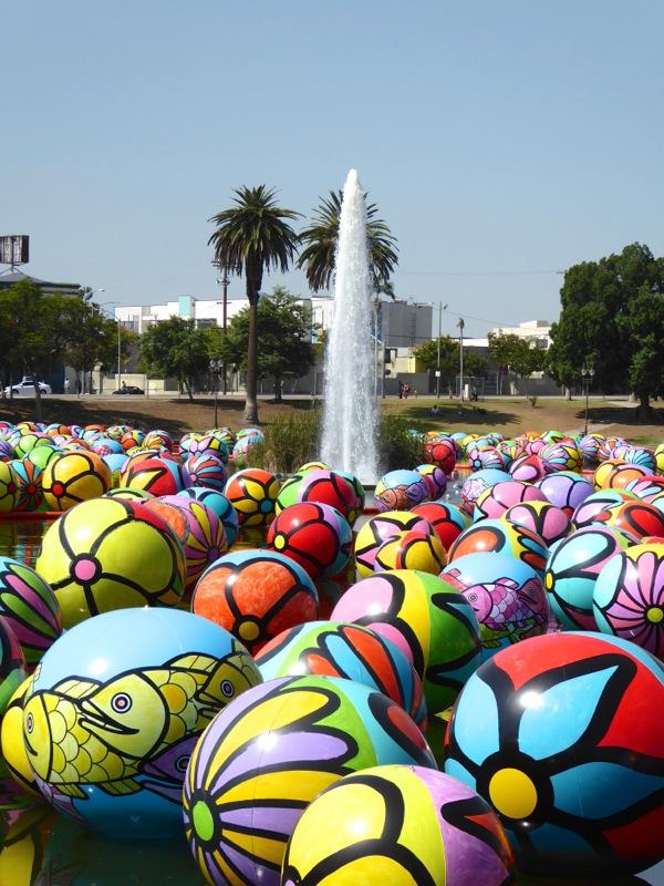 MacArthur Park Spheres floating art installation
